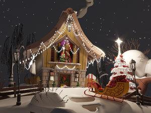 3D winter scene model