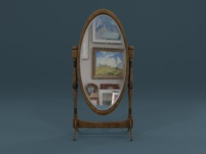 medieval cheval mirror 3D model