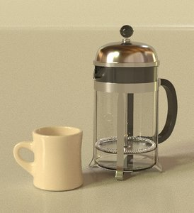 3D model french press coffee maker