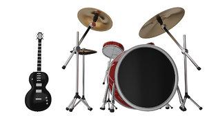 drum guitar 3D model