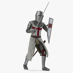 3D knight templar set rigged model