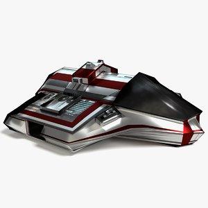3D scifi cargo ship model