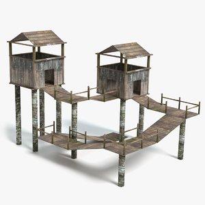bridges towers 3D model