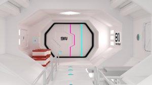 sci-fi corridor modular ready 3D model