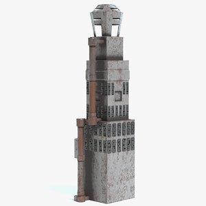destroyed futuristic building polys model