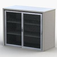 glass double-door cabinet 3D