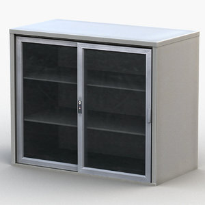 glass double-door cabinet 3D