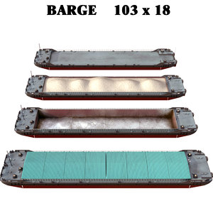 3D 4 types barge