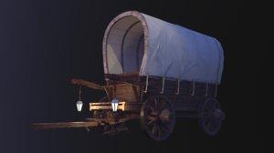 realistic wagon medival 3D model