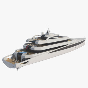 3D model luxury modern mega yacht