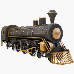 3D steam train locomotive