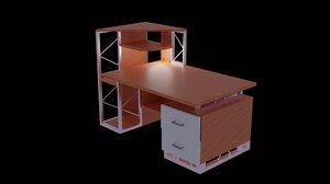 wood desk 3D