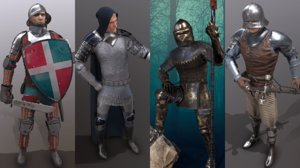 fantasy character medieval knight 3D model