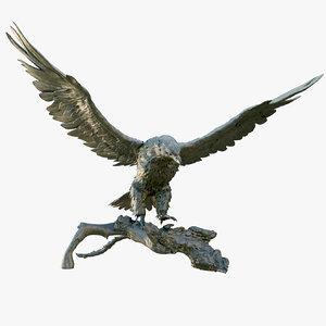 3D model hawk bronze statue