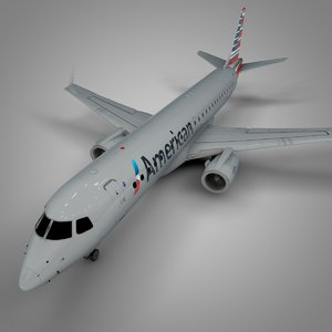 american airlines embraer190 l585 3D model