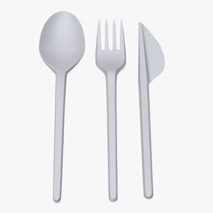 plastic spoon fork 3D model