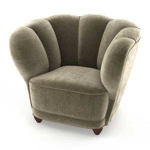 chair danish 1940s mohair 3D model