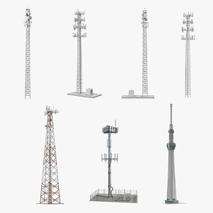 cellular towers 3 cells 3D