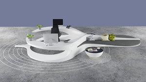 organic reception counter 3D model