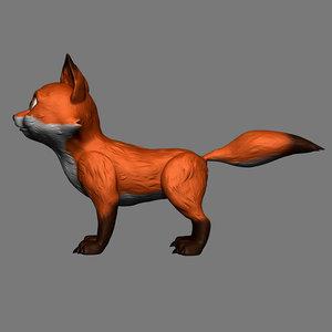 3D fox animal beast model