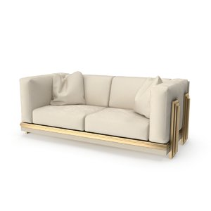 double beige sofa 3D model