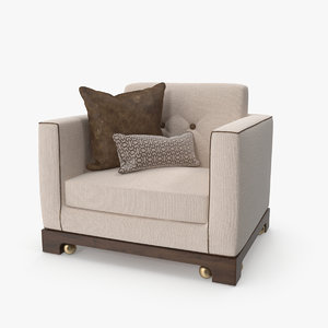 armchair pillows 3D model