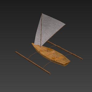 little fishing sail boat 3D model