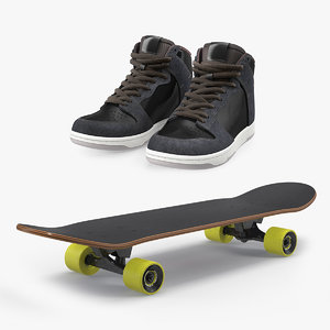 3D model skateboard shoes skate boarding