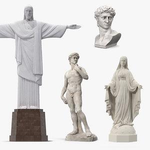 3D stone statues 3 model