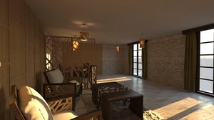 3D rustic living room model