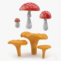 3D mushrooms amanita forest