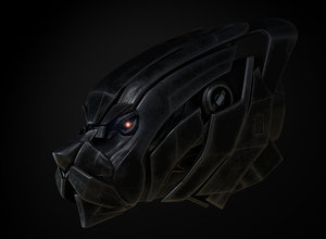 3D black panther mech head model