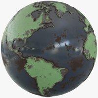 earth globe metallic 3D model