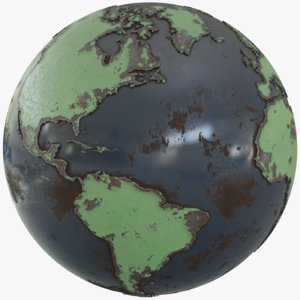 earth globe metallic 3D model