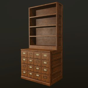 3D card file cabinet ready model