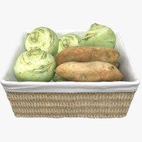 wicker basket cabbage 3D model