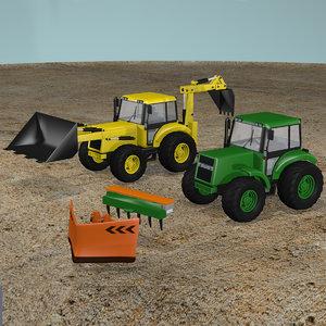 3D tractor backhoe plow model