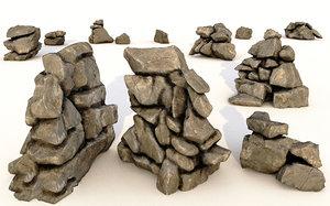 realistic rocks cliffs 3D model