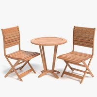 3D model bistro table chairs