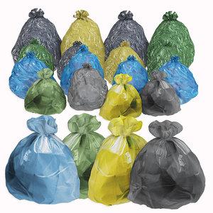 3D garbage bags set trash