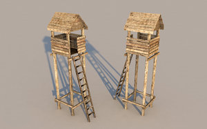 medieval tower guard lookout 3D model