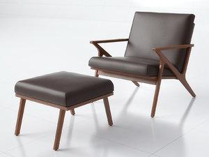 3D model cavett leather wood frame