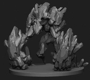 3D rock golem model