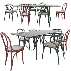 3D thonet chairs table