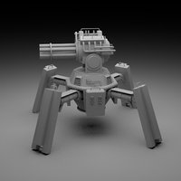 3D model turret rigged