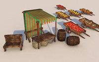 medieval market stall model
