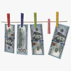 dollars clothespins 3D model