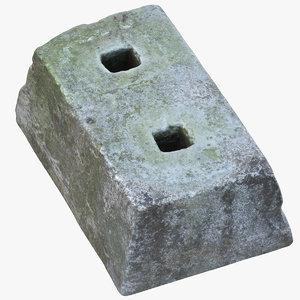 old concrete block 02 3D