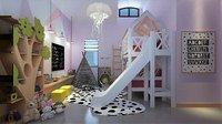 3D child bedroom bunk beds model