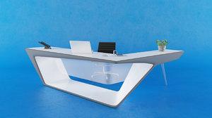 3D organic reception counter model